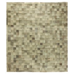 Olive Oversized Hair-on-Hide Contemporary Rug