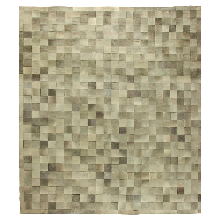 Olive Oversized Hair-on-Hide Contemporary Rug For Sale