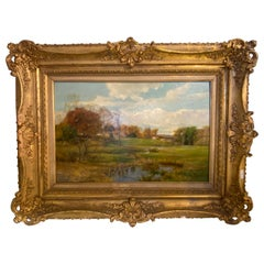 Olive Parker Black Signed Oil on Canvas Autumn Landscape Giltwood Gold Frame