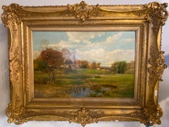 Olive Parker Black Signed Oil on Canvas Autumn Landscape Giltwood Gold Frame