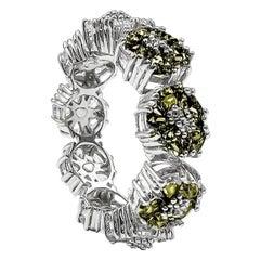Olive Peridot Blossom Gemstone Trinity Ring