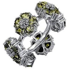 Olive Peridot Blossom Gemstone Wraparound Ring