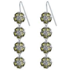 Olive Peridot Blossom Gentile Chandelier Earrings