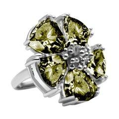 Olive Peridot Blossom Large Stone Ring