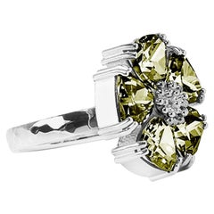 Olive Peridot Blossom Large Stone Ring