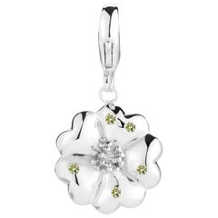 Olive Peridot Blossom Pave Detachable Charm/Pendant