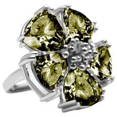 Olive Peridot Blossom Stone Ring