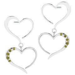 Olive Peridot Double Heart Pave Dangle Earrings