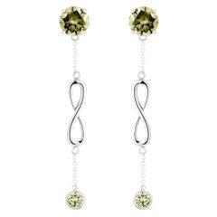Olive Peridot Double Stone Infinity Chain Earrings
