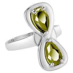 Olive Peridot Large Infinity Stone Ring