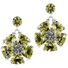Olive Peridot Single Blossom Drop Earrings