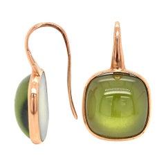 Olive Quartz and Pink Gold 18 Karat Drop Earrings