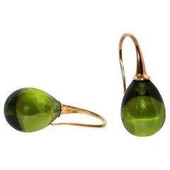 Olive Quartz and Yellow Gold 18 Karat Drop Earrings