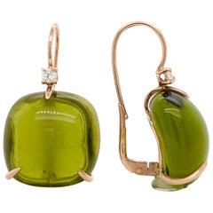 Olive Quartz with Diamonds on Pink Gold 18 Karat Lever-Back Earrings
