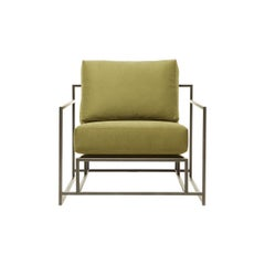 Olive Twill Canvas and Blackened Steel Armchair