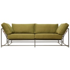 Olive Twill Canvas and Blackened Steel Two-Seat Sofa