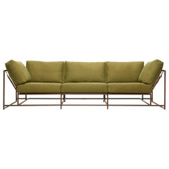 Olive Twill Canvas and Marbled Rust Sofa