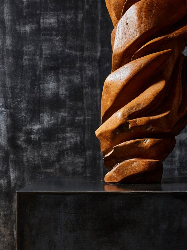 Steel Olive Wood Sculpture For Sale