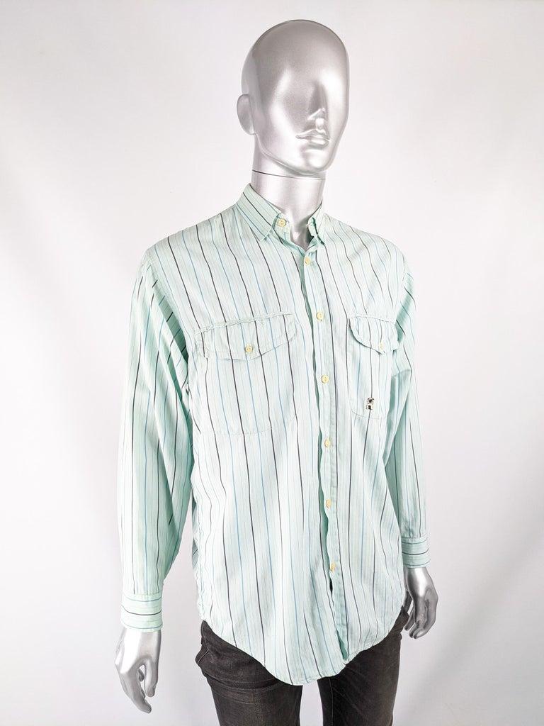 Gray Oliver by Valentino Mens Vintage Pastel Mint Shirt