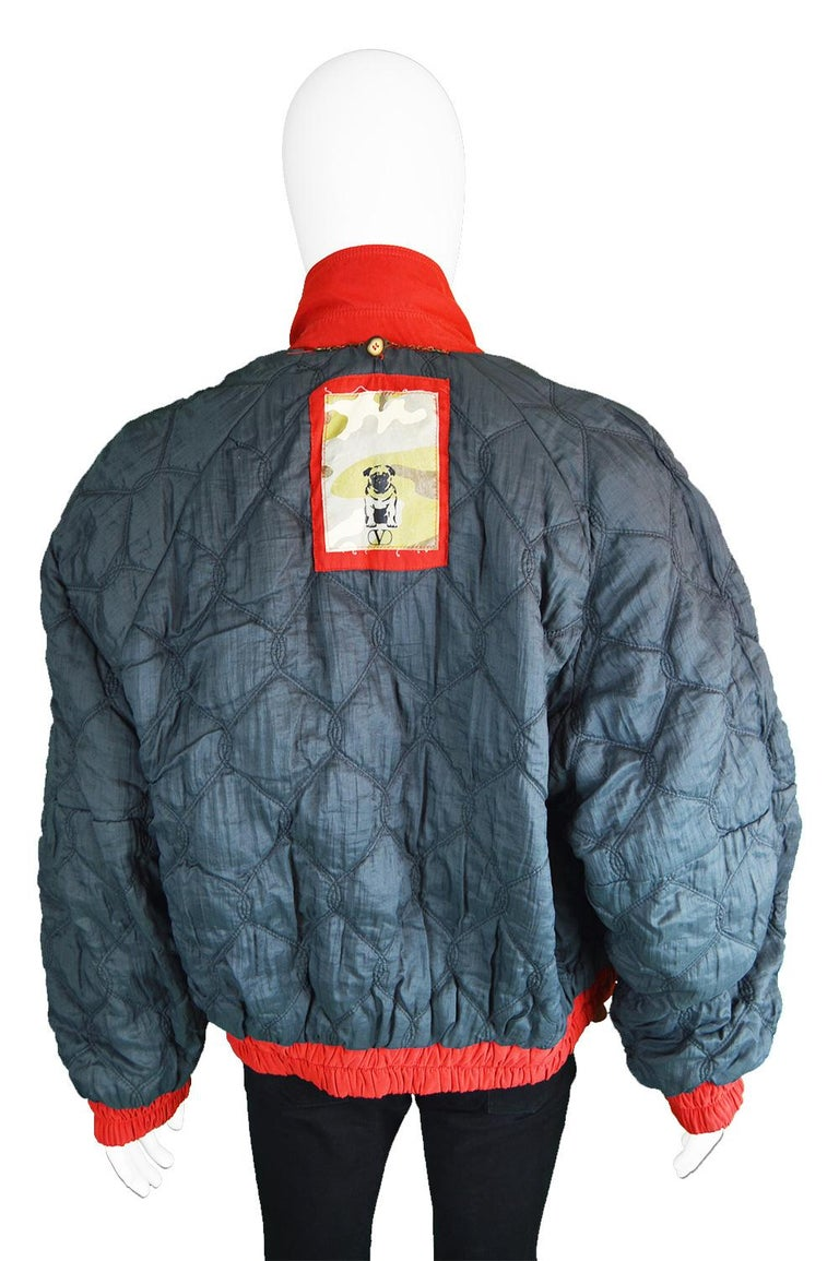 2bd792f1b Oliver by Valentino Men's Vintage Red Quilted Bomber Jacket Coat, 1980s