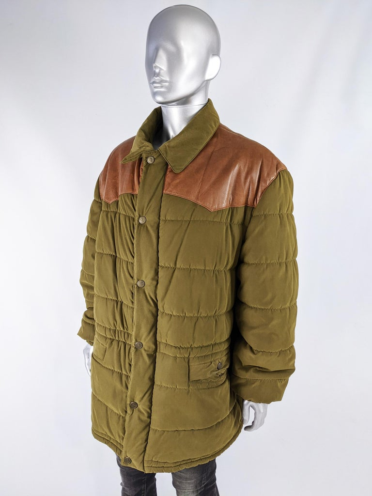 Oliver by Valentino Vintage Mens Long Puffer Coat In Excellent Condition In Doncaster, South Yorkshire