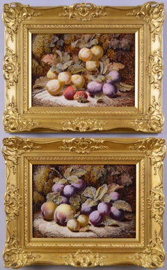 19th Century pair of still life oil paintings of fruit