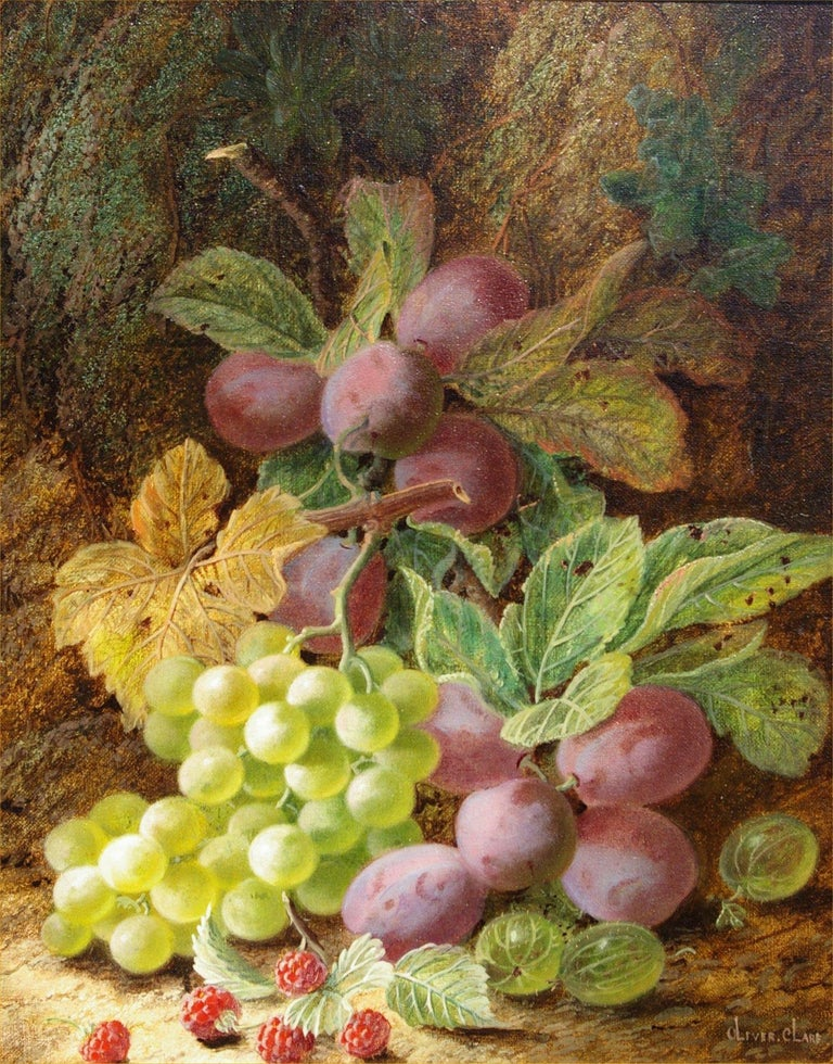 Oliver Clare Still-Life Painting - Still Life of Grapes, Plums and Berries