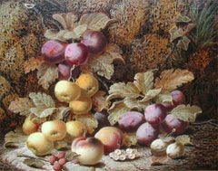 Still Life with Plums, Apples and Peaches on a Mossy Bank