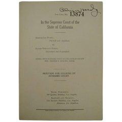 Oliver Hardy Autographed Divorce Document