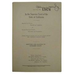 Oliver Hardy Vintage 1930s Autographed Divorce Document on Paper