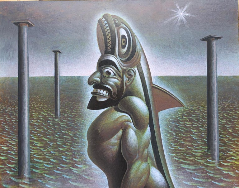 Dagon Calapesce, Symbolic Male Warrior Figure Surrounded by Water,  Acrylic/Panel