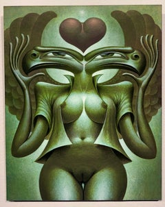 Danubia, Symbolic Painting of Two Headed Goddess Female Nude, Green Sepia Tones