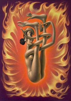 Shakti Dysnomia - Hindu Goddess in Quite Difficult Yoga Pose on Flame Background