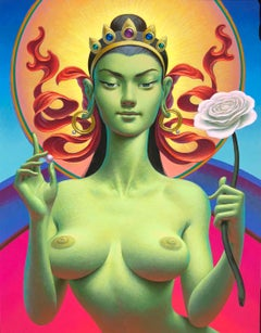 Tara - Highly Detailed Erotic, Symbolic, Surreal Painting - Woman, Pearl, Flower