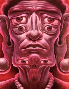 Totemic Arhat - Surreal Buddhist Figure of Enlightenment, Acrylic on Panel