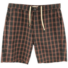 OLIVER SPENCER Size M Black & Orange Plaid Cotton Button Fly Shorts