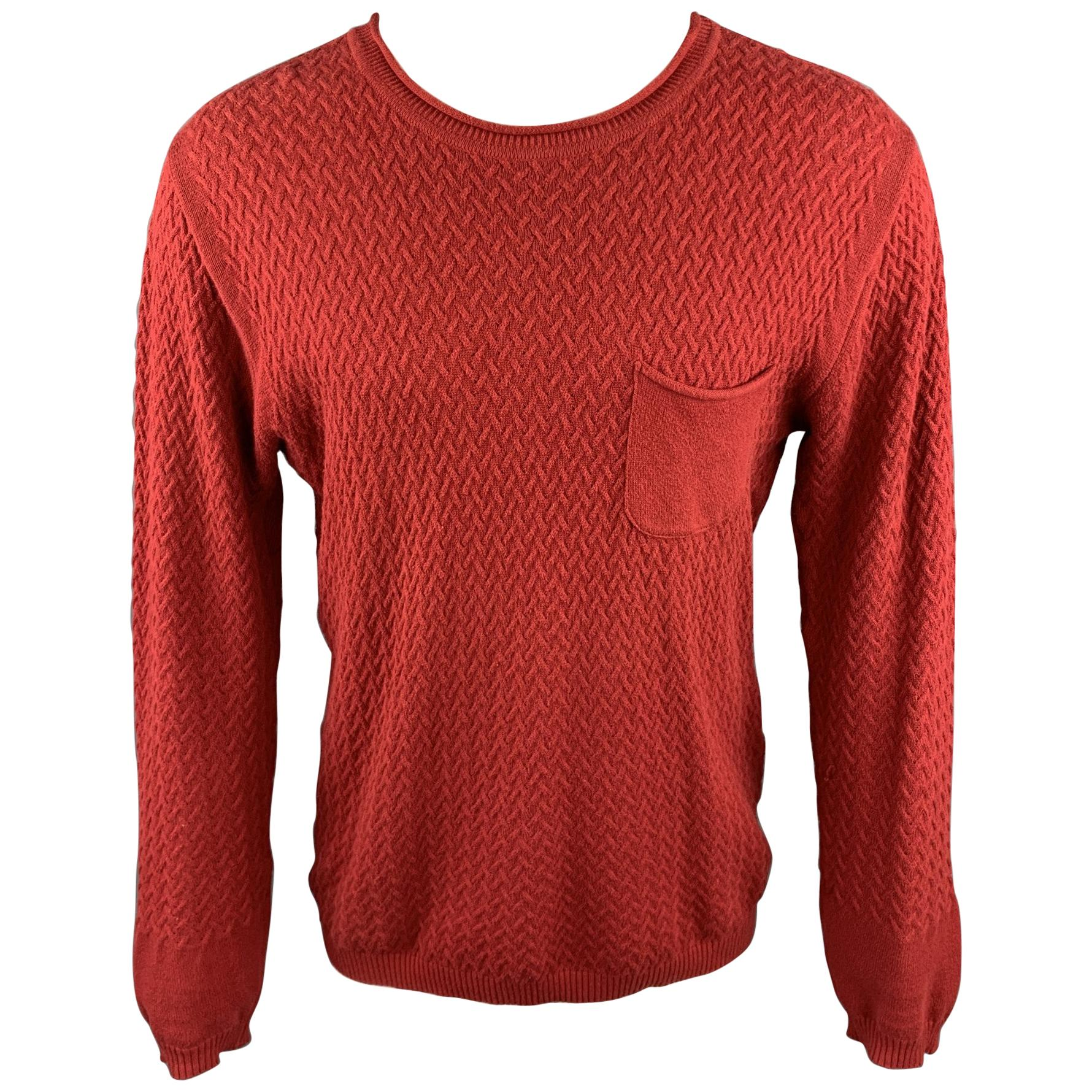 OLIVER SPENCER Size M Red Knitted Cotton Crew-Neck Pullover