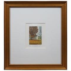 Olivero Masi Pencil Signed Autumn Landscape Etching Country Farmhouse Print