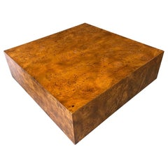 Olivewood Burl Square Cocktail Table in the Style of Milo Baughman Mid Century