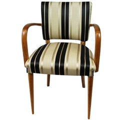 Olivewood Italian Desk Chair with Striped Jacquard Cushion, 1940s