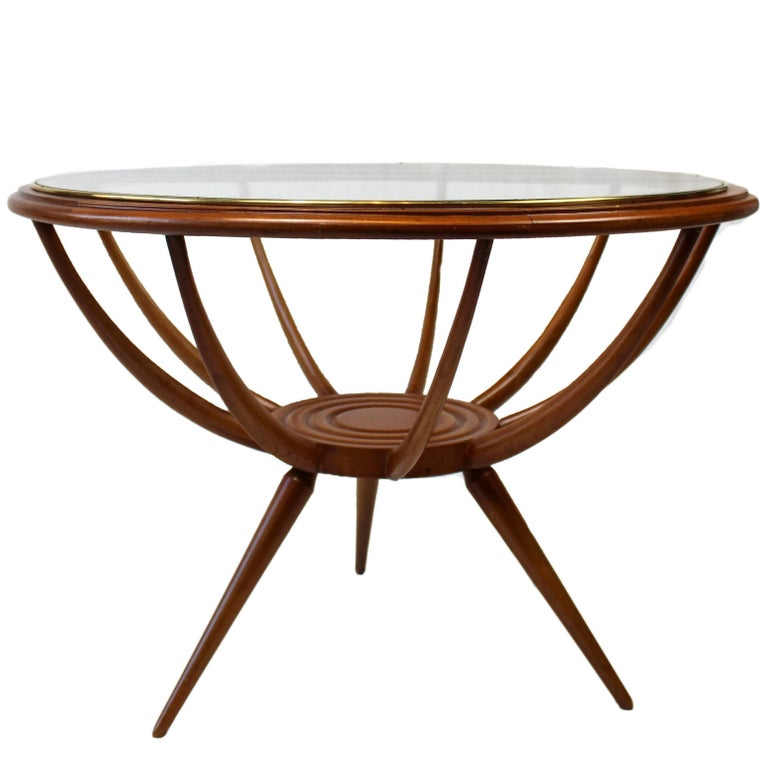Olivewood Midcentury Italian Spider-Leg Table with Glass and Brass Base, 1950s