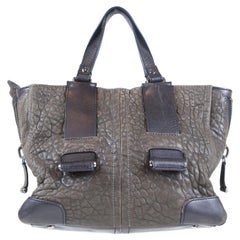 Olivia Harris Women's Dark Gray Leather Bag with Zip Closure and Side Zips