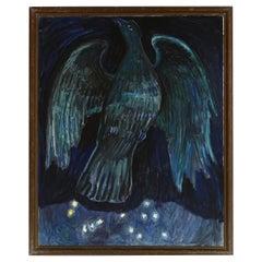 """Olivia Holm Møller Oil Painting """"Blue Bird"""", 1962"""
