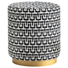 Olivia Pouf Upholstered in Marilù Fabric and Corno Italiano, Mod. 6052B