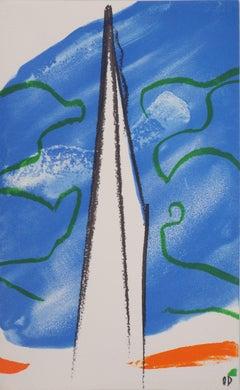 White Sail in a Sea Background - Original lithograph