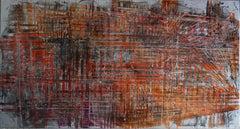 "abstract ""Artefac 1er"" varnish pigment on wood panel 160x90cm orange red"