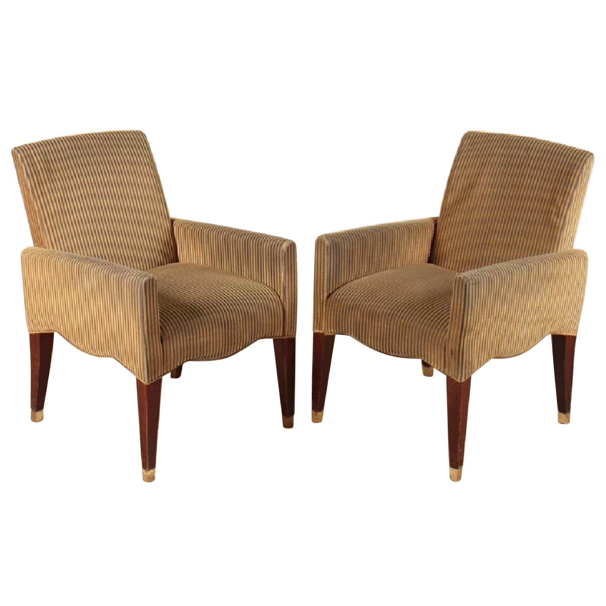 Olivier Gagnère Striped Armchairs