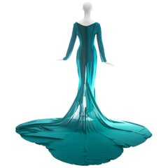 Olivier Guillemin turquoise crepe evening gown with train, c. 1980s