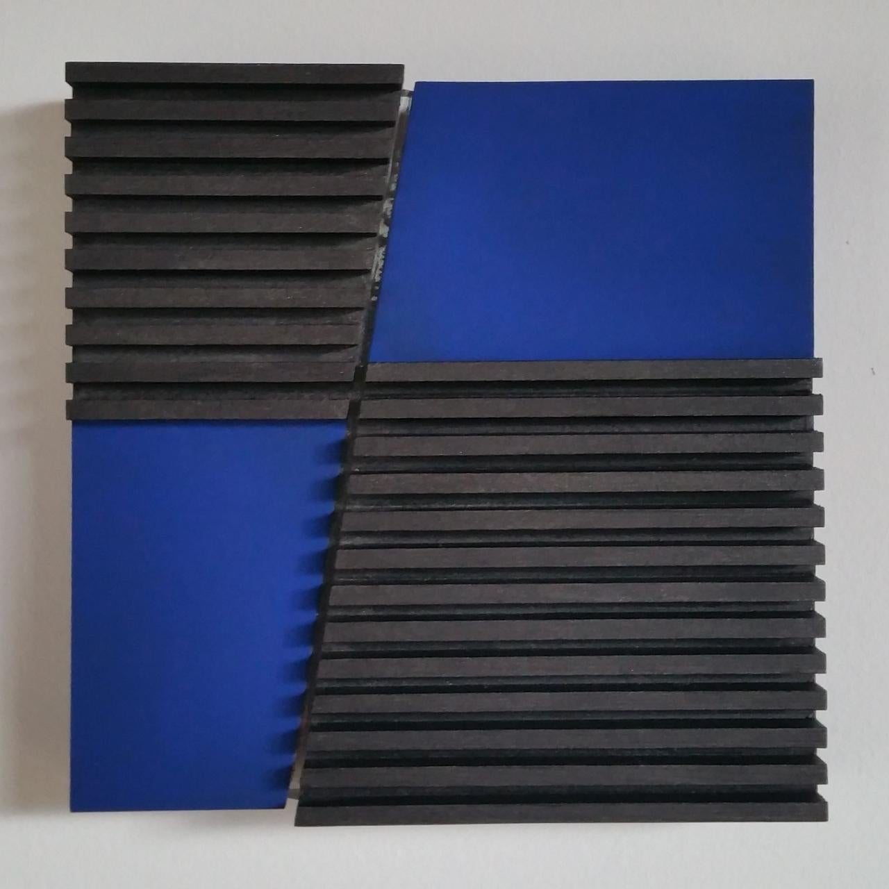 Intersection I 27/50 - blue grey contemporary modern sculpture painting relief
