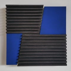Intersection II 13/25 - blue grey contemporary modern sculpture painting relief